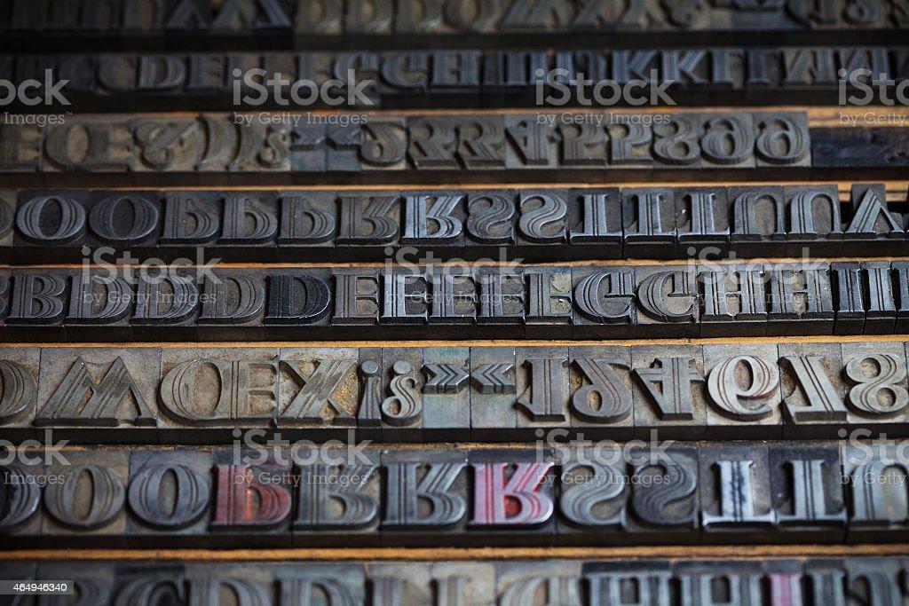 Various metal printing press letters stock photo