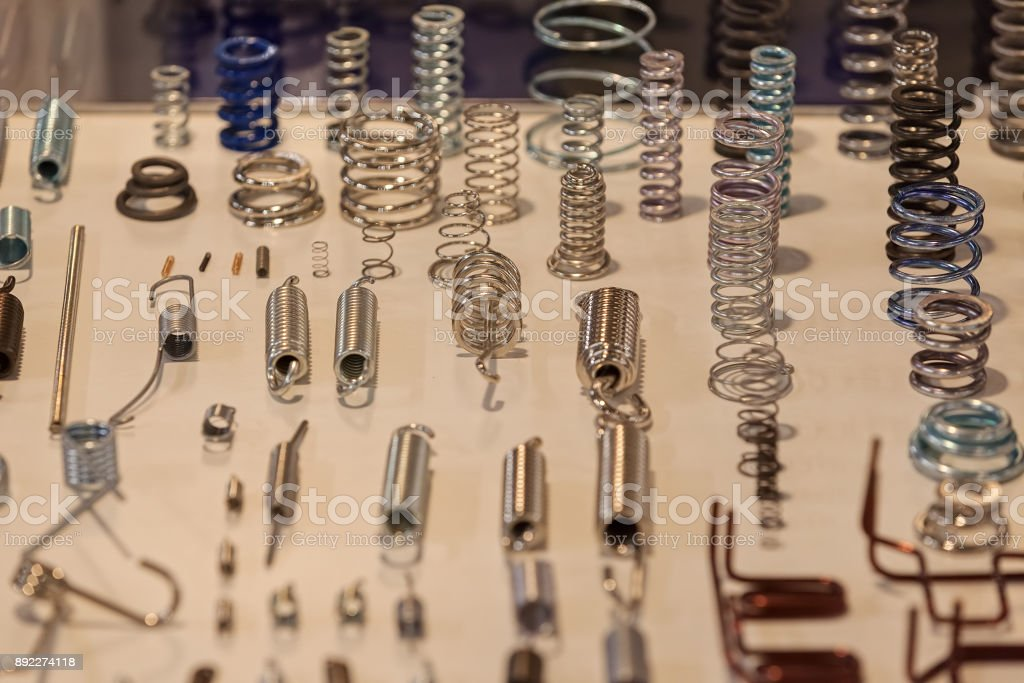 Various metal springs stock photo