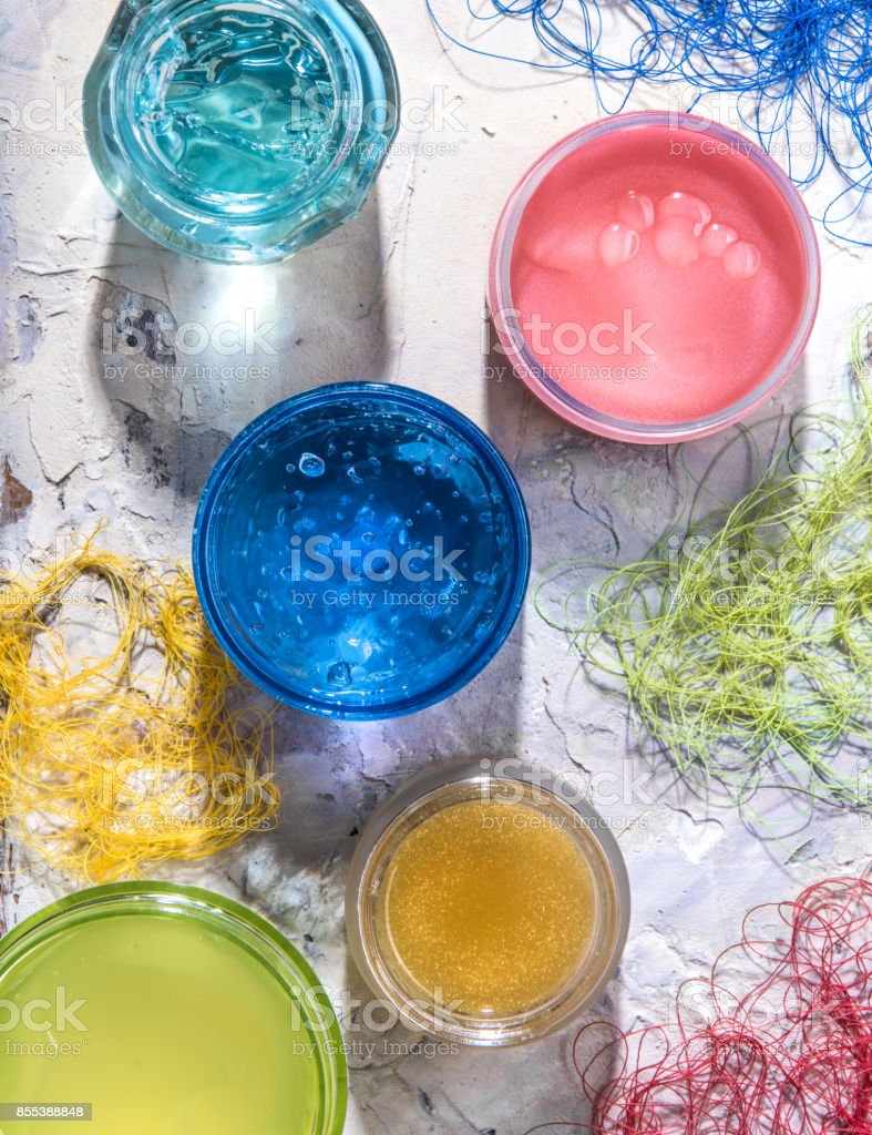 Various moisturizing cosmetic masks of different colors stock photo