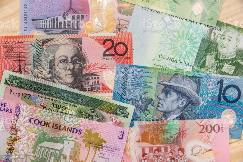 various money in Australian and Oceania countries. stock photo