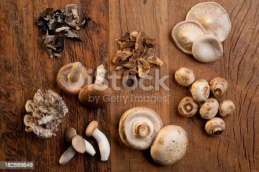 Mushrooms assortment in a wooden table.