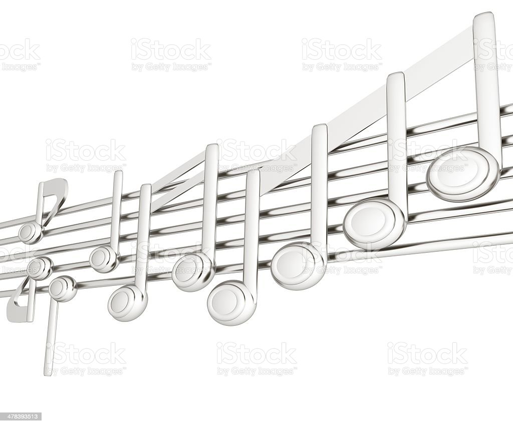 Various music notes on stave. Metall 3d royalty-free stock photo