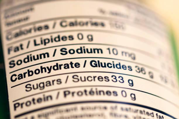 various nutrition information on a food label - ingrediente imagens e fotografias de stock