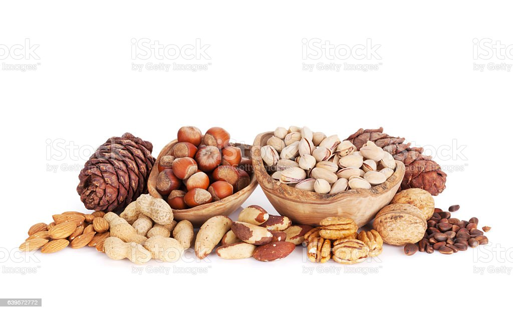 Various nuts. Isolated stock photo