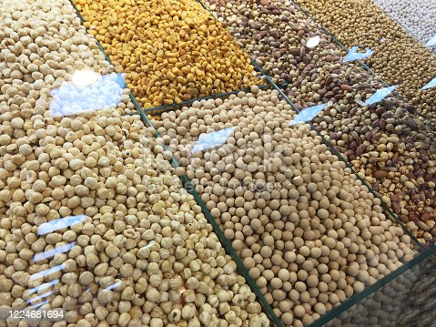 Various of nuts at the market stall