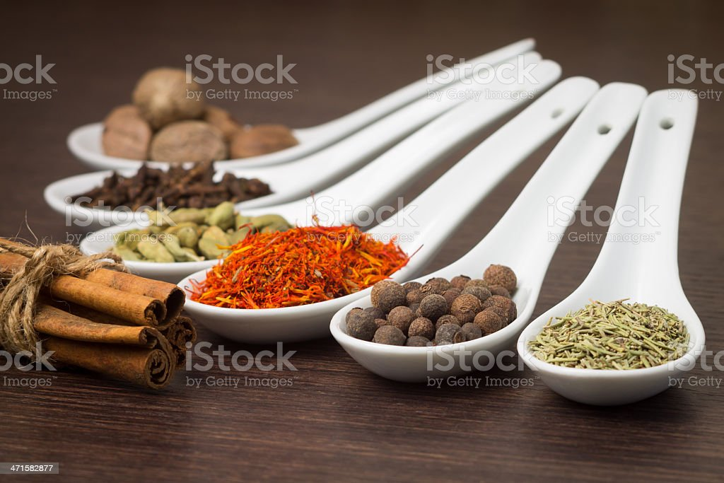 Various of Spice on wood background royalty-free stock photo