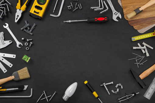 Various of Work Tools on Workbench with Copy Space