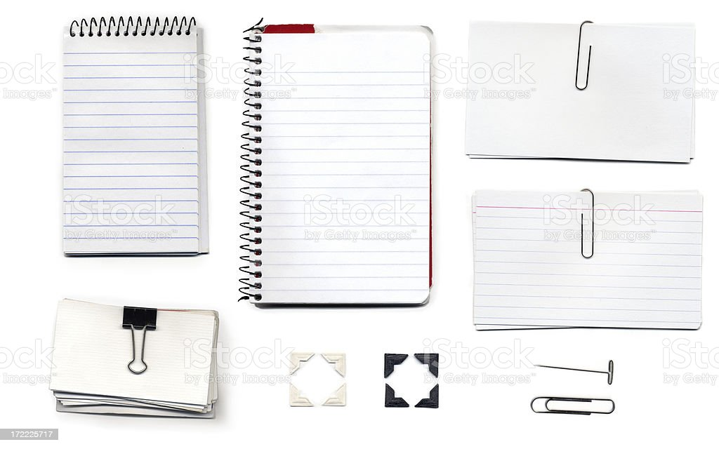 Various Office Supplies on a White Background royalty-free stock photo