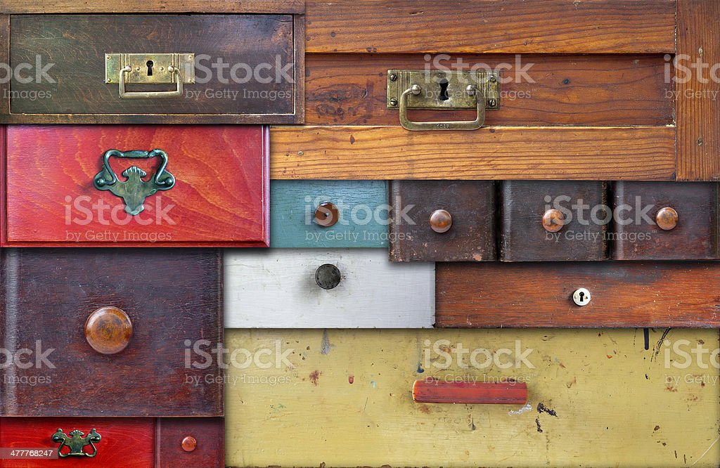 various old drawers - in utter secrecy stock photo