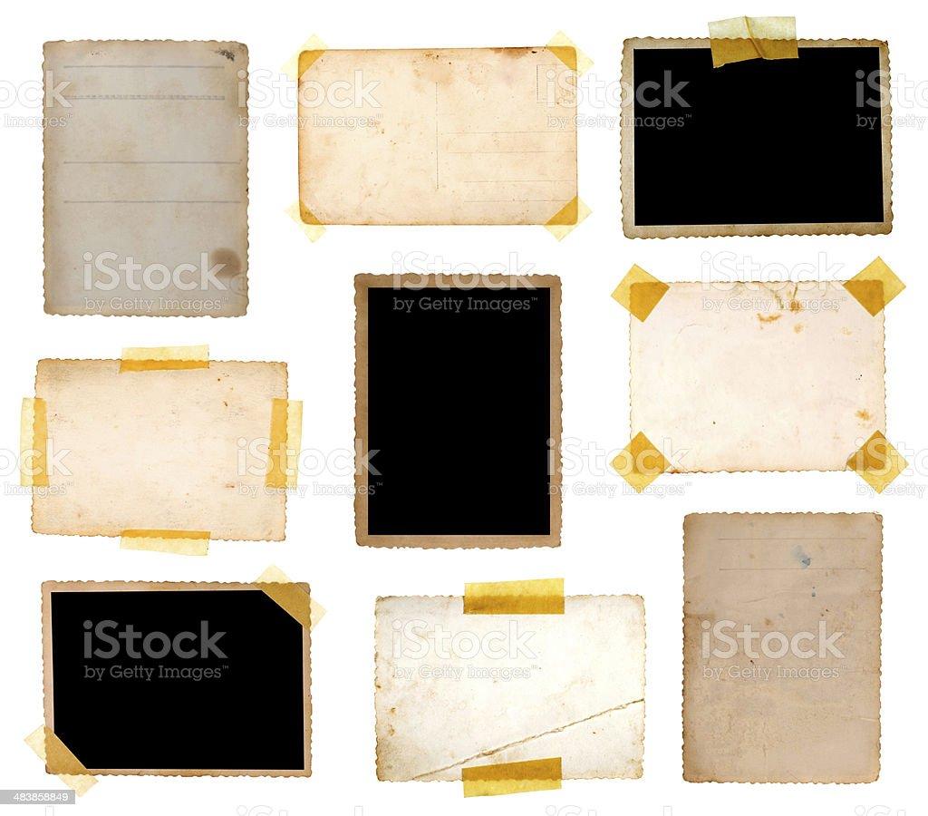 Various old photos on white background stock photo