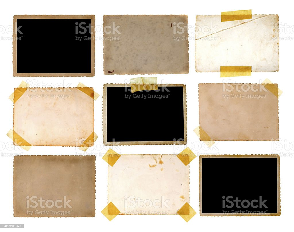 Various old photos on white background stock photo