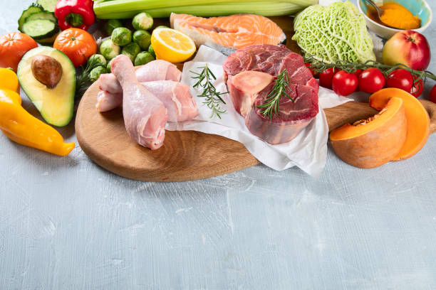 Various Paleo diet products stock photo