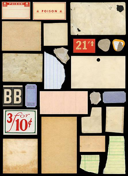 various paper scraps and ephemera stock photo