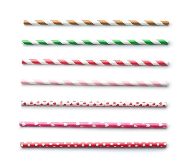 Various paper straws Various paper straws isolated on white background. drinking straw stock pictures, royalty-free photos & images