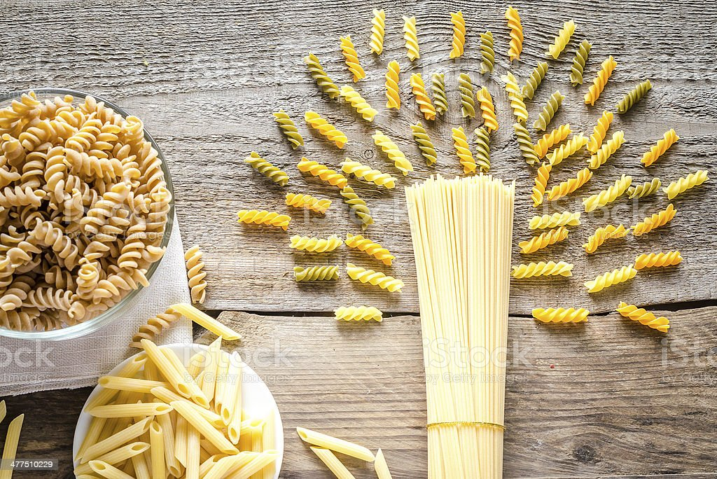 Various pasta types stock photo