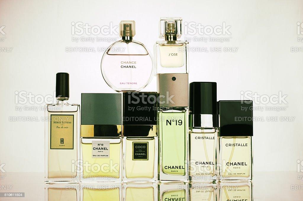 Various perfumes set stock photo