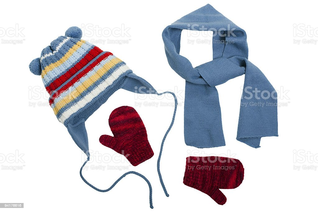 Various pieces of winter clothes  royalty-free stock photo