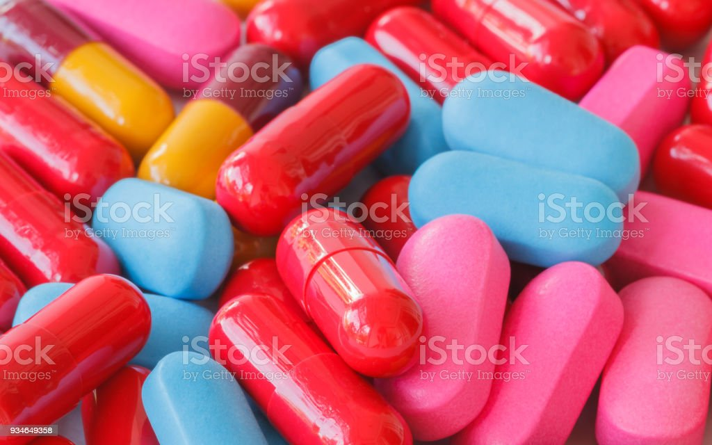 Various pills multi color. stock photo