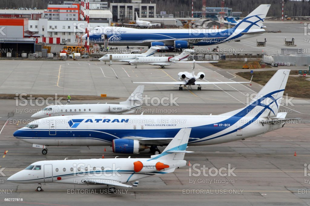 Various planes standing at Sheremetyevo international airport. stock photo