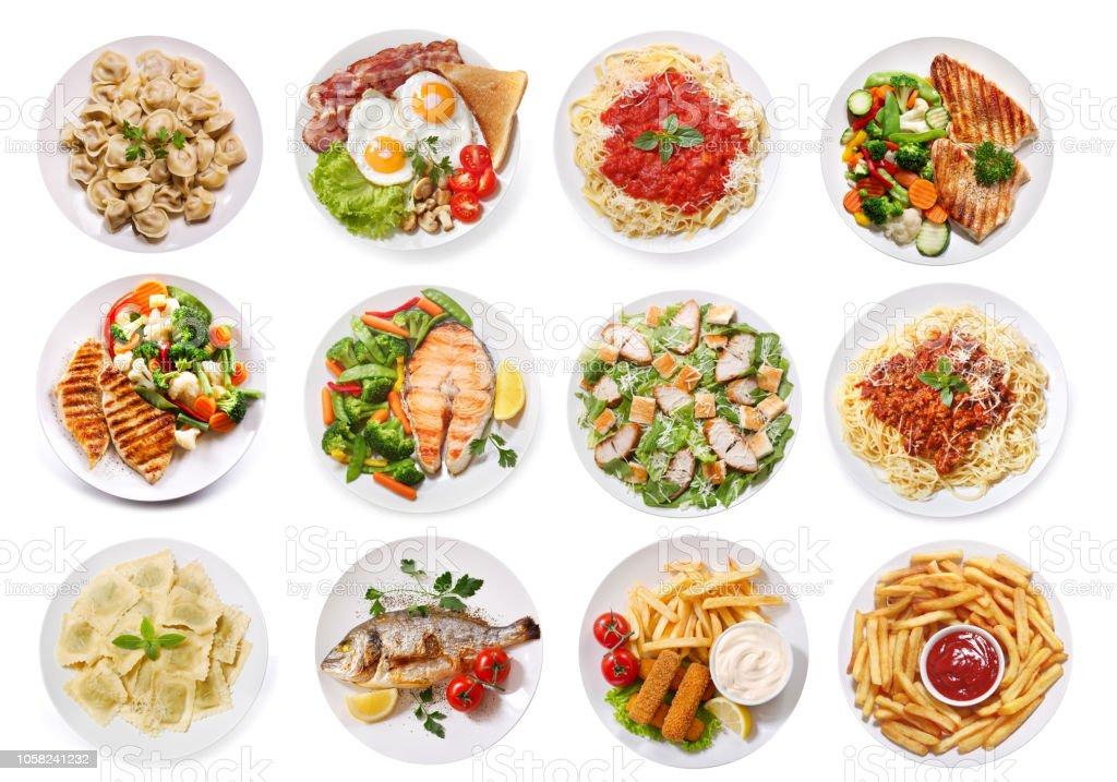在白色背景查出的各種食物盤子, 頂視圖 - 免版稅一組物體圖庫照片