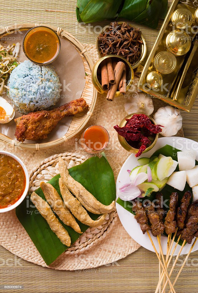 various popular malaysia food for ramadan, hari raya aidilfitri stock photo