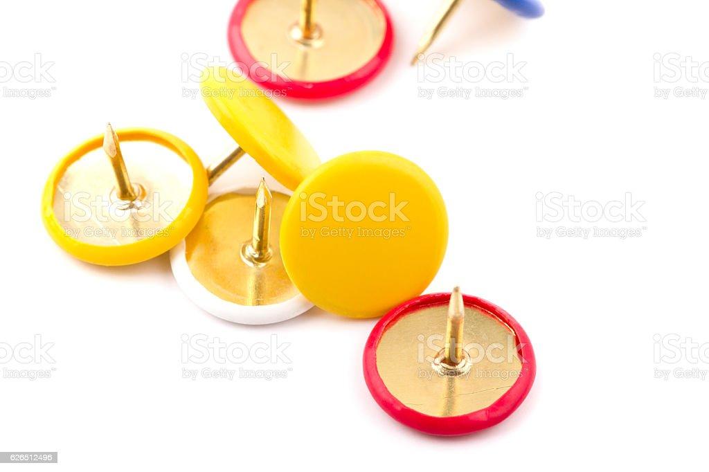 various pushpins isolated on white background stock photo