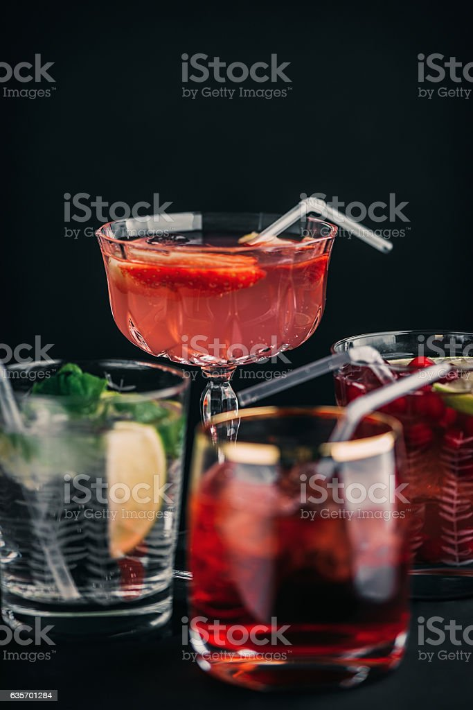 Various red cocktail aperitif drinks royalty-free stock photo