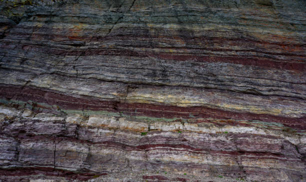 Various Red Lines In The Rock stock photo