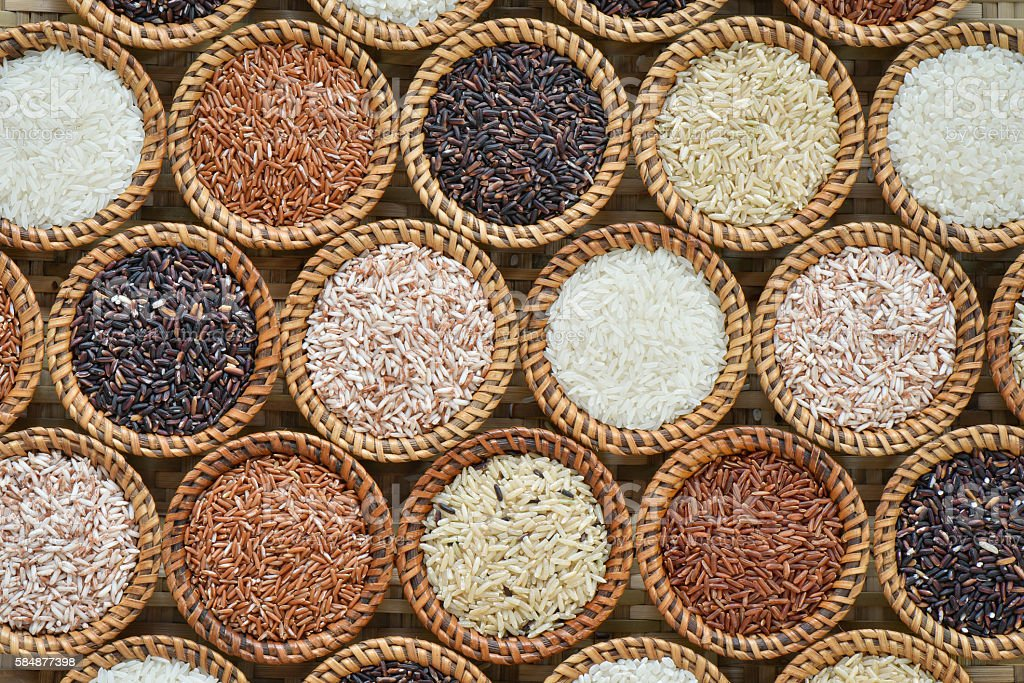 Various rice collection for background stock photo