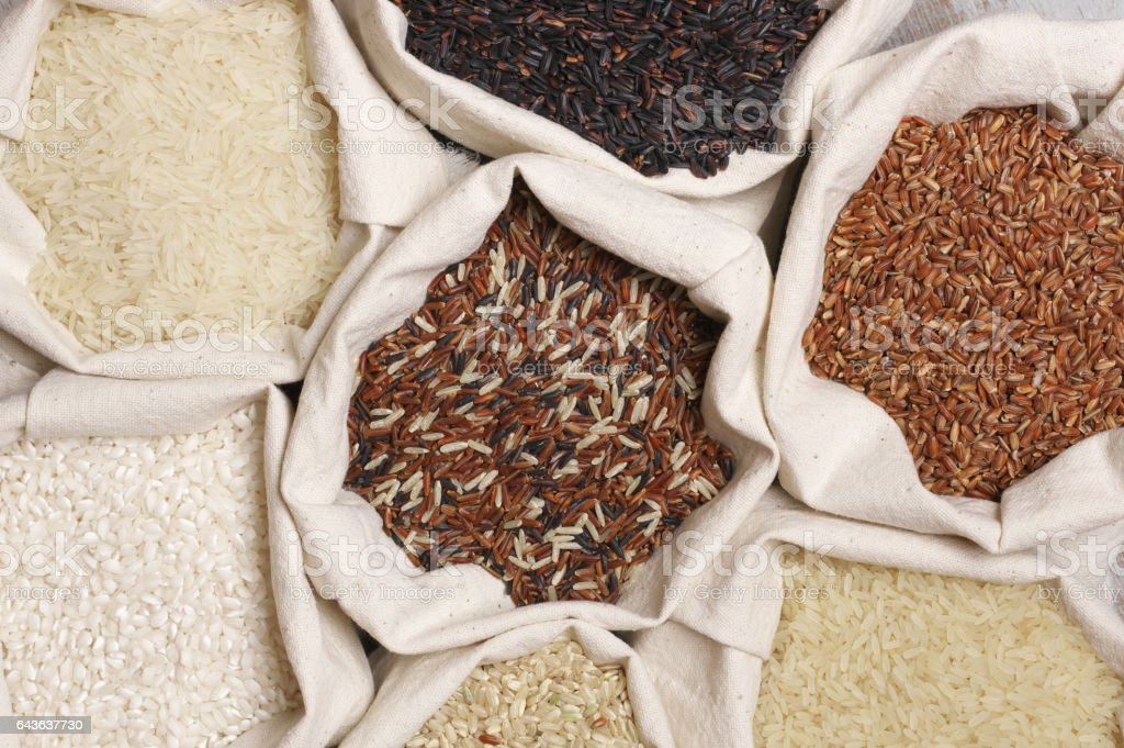 Various rice in bags stock photo