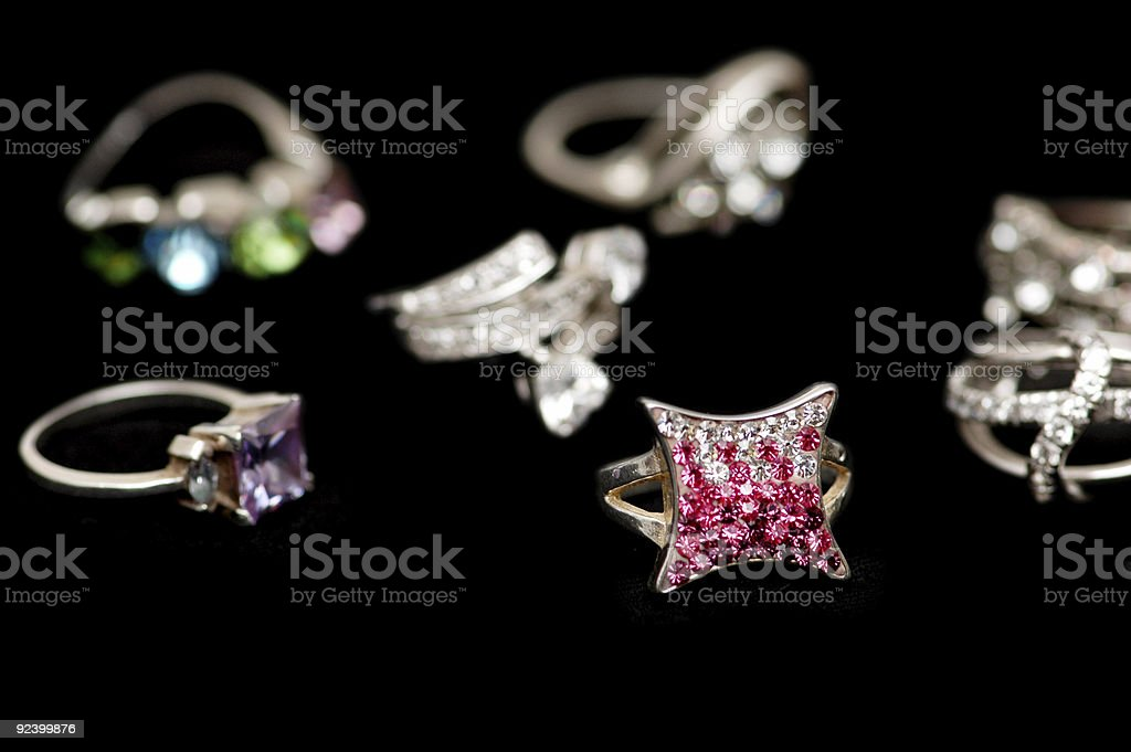 Various rings isolated on the black background royalty-free stock photo