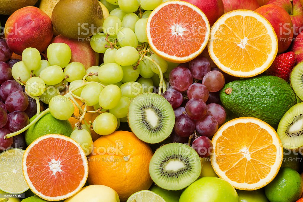 Various ripe fruits for eating healthy stock photo