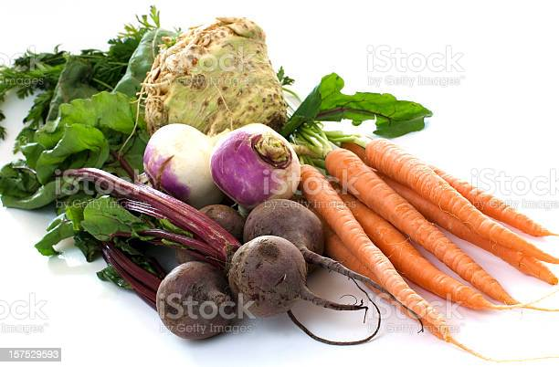 Organic carrots, beets, turnips, and celery root on a white background