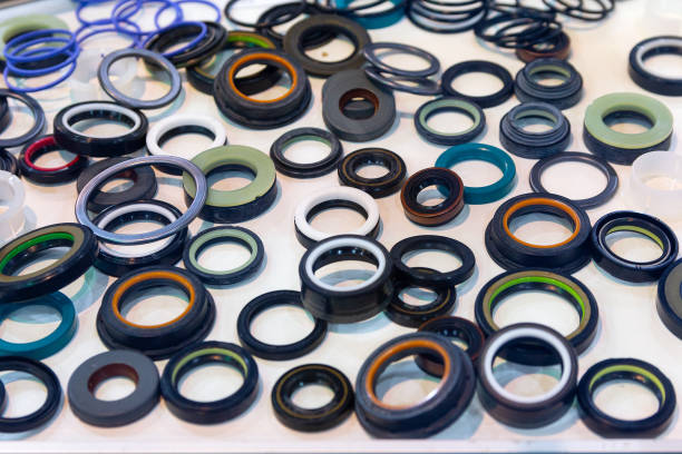 various rubber products and sealing products at the exhibition stand. industry - silicone foto e immagini stock