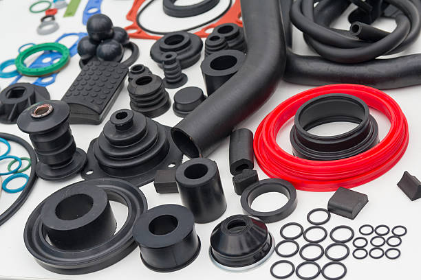 various rubber products and sealing products - rubber stock photos and pictures