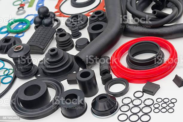 Various rubber products and sealing products at the exhibition stand. Industry