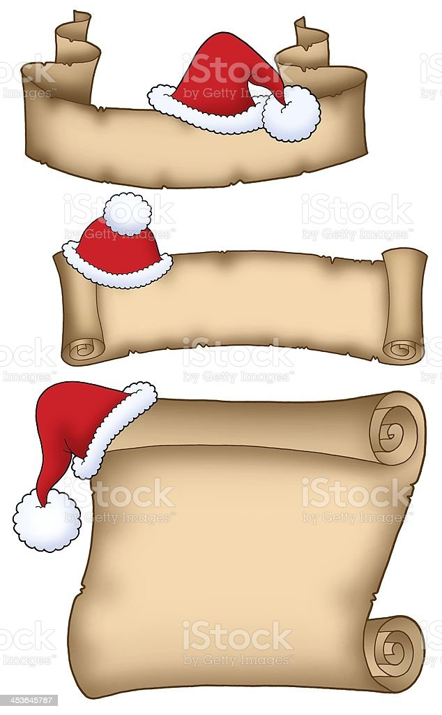 Various Santa Claus parchment royalty-free stock photo