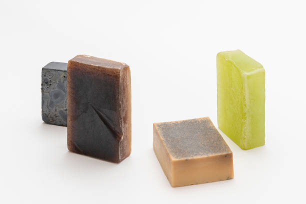 Various scented handmade artisan soaps. stock photo