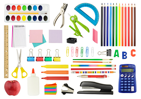 A white background featuring an assortment of colorful icons of school supplies. The supplies include a staple remover, a red apple, watercolor paints, a drawing compass, glue, scissors, a ruler, a calculator, a spiral notebook, a felt-tip pen and a protractor.