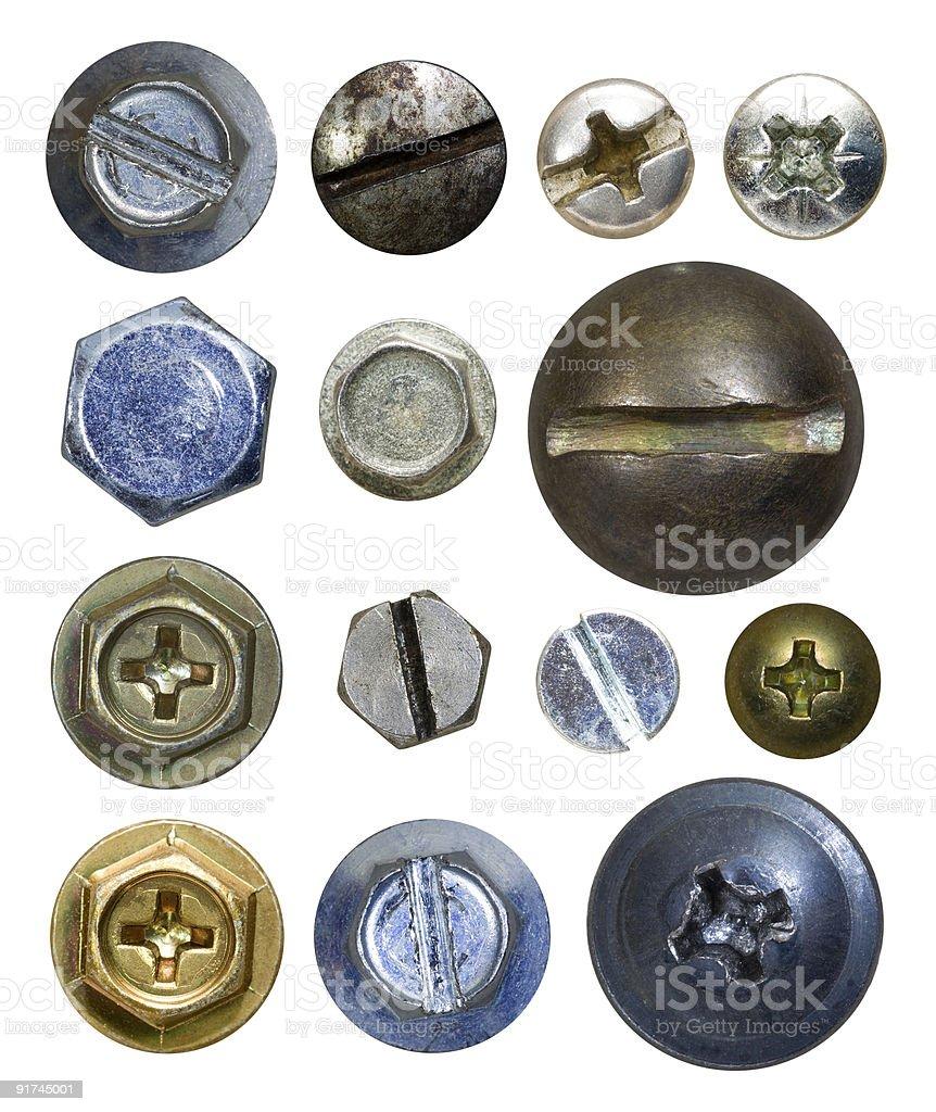 Various screw heads on white background royalty-free stock photo