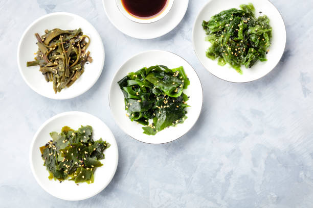 Various seaweed, sea vegetables, shot from the top with a place for text. Superfoods background stock photo