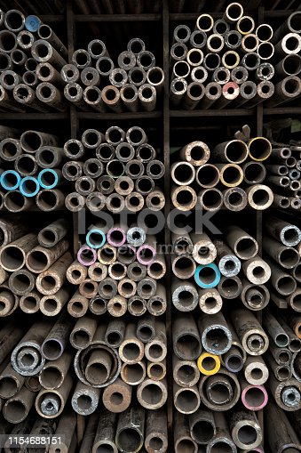 istock various shape industrial steel products of metal profiles and tubes on warehouse shelf 1154688151