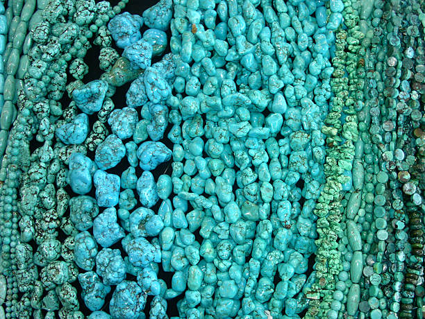 Various shapes of a turquoise beads stock photo