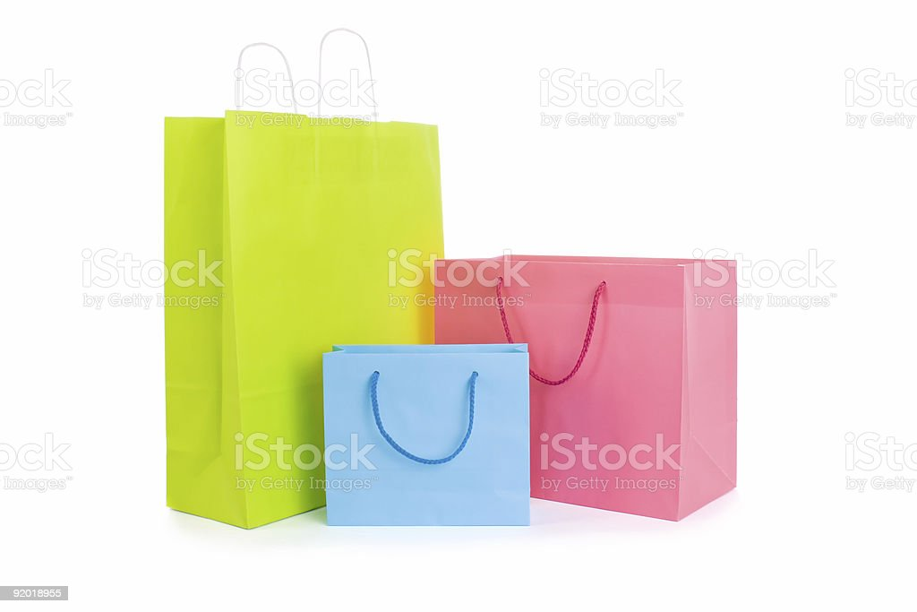 various shopping bags isolated on white stock photo