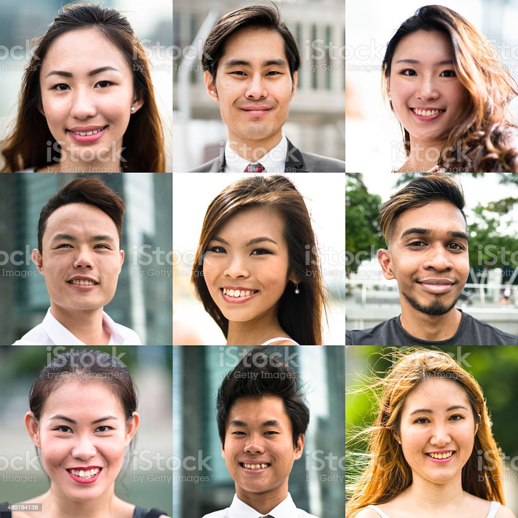 various size of mixed race asiatic characters collage stock photo