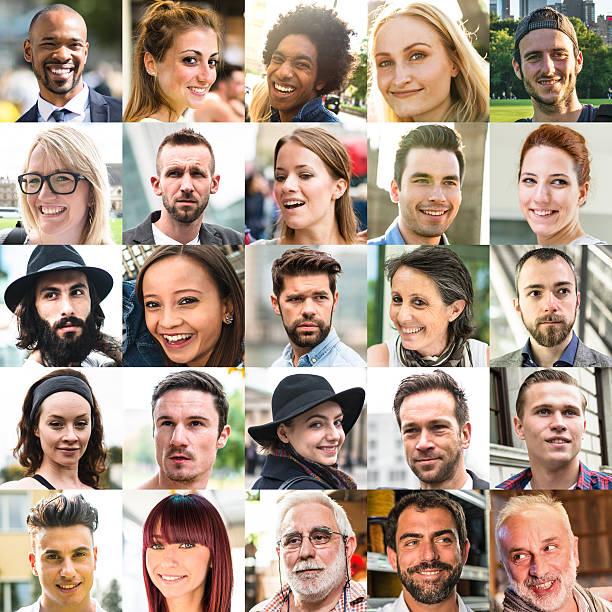 Varie dimensioni di razza mista caratteri collage - foto stock