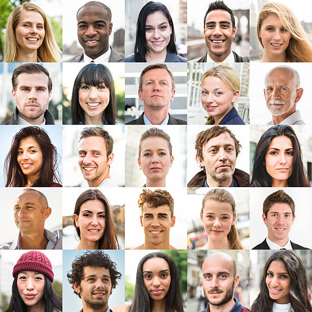 various size of mixed race characters collage - people collage stock photos and pictures