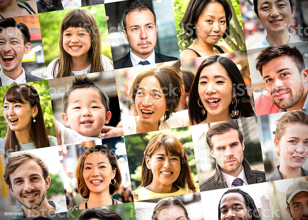 Vários tamanho de caracteres de raça mista colagem foto de stock royalty-free