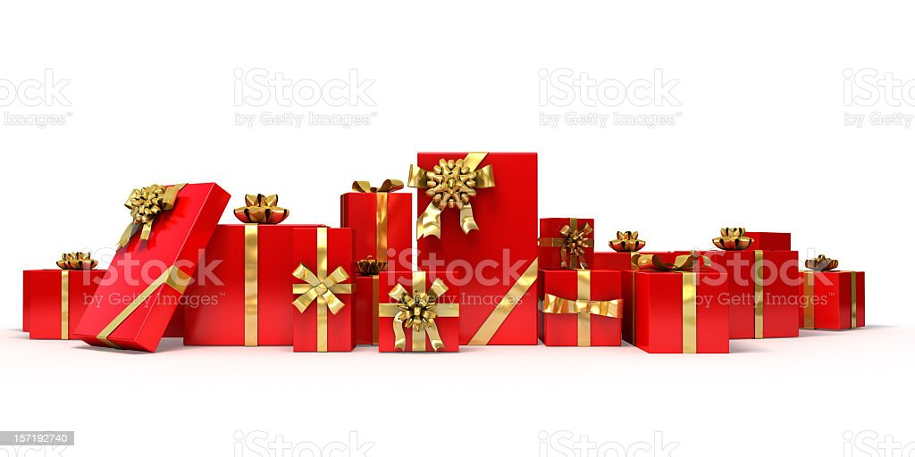 Various sized gifts wrapped in red with gold bows & ribbons stock photo