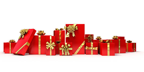 Various sized gifts wrapped in red with gold bows & ribbons 3d illustration. Many red gifts. christmas present stock pictures, royalty-free photos & images